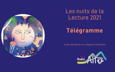 Télégramme – Nuits de la lecture 2021